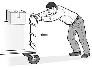 Man pushing heavy cart.